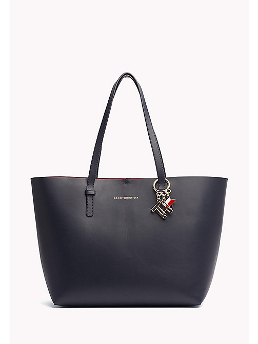 TOMMY HILFIGER Leather Tote Bag - TOMMY NAVY / TOMMY RED - TOMMY HILFIGER Tote Bags - main image
