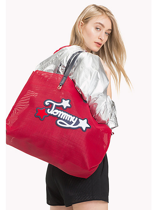 TOMMY HILFIGER Embroidered Oversized Tote - TOMMY RED - TOMMY HILFIGER VACATION FOR HER - detail image 1