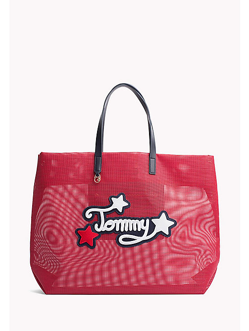 TOMMY HILFIGER Embroidered Oversized Tote - TOMMY RED - TOMMY HILFIGER VACATION FOR HER - main image