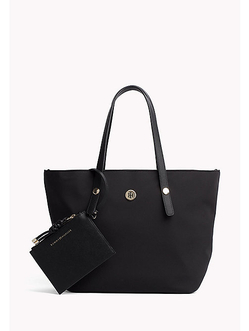 TOMMY HILFIGER Medium Tote with Coin Purse - BLACK - TOMMY HILFIGER Tote Bags - main image