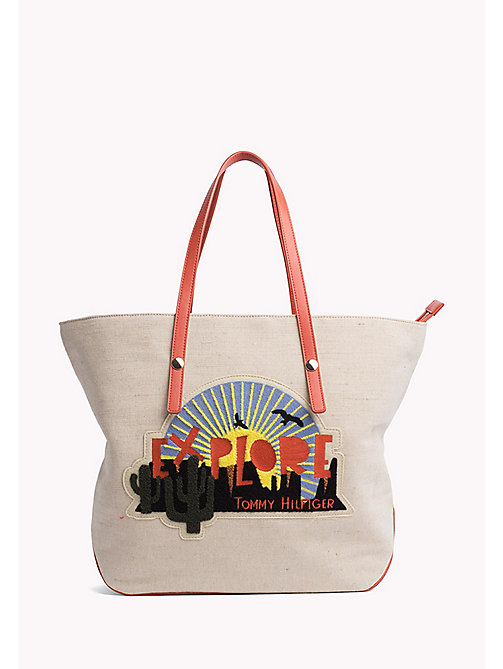 TOMMY HILFIGER Explore Textile Tote - JUTE MIX - TOMMY HILFIGER VACATION FOR HER - main image