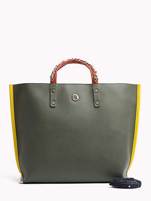 TOMMY HILFIGER Tote-Bag mit Kette am Griff - FOUR LEAF CLOVER - TOMMY HILFIGER Colorblock Collection - main image