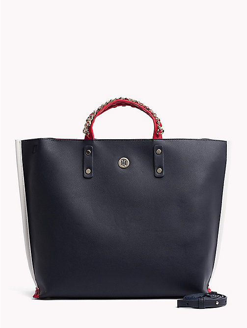 TOMMY HILFIGER Tote-Bag mit Kette am Griff - TOMMY NAVY - TOMMY HILFIGER Colorblock Collection - main image
