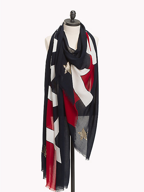TOMMY HILFIGER Logo Metallic Star Scarf - CORPORATE MIX - TOMMY HILFIGER VACATION FOR HER - main image