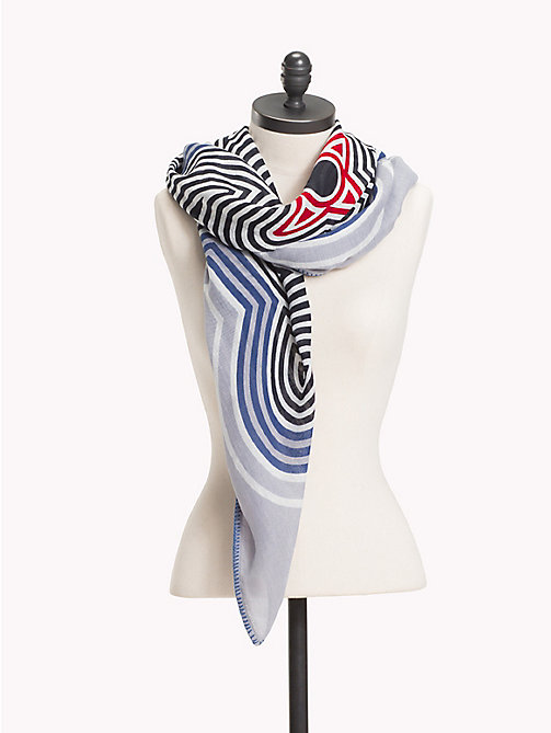 TOMMY HILFIGER Sjaal met abstracte strepen - LIGHT BLUE MIX - TOMMY HILFIGER NIEUW - main image