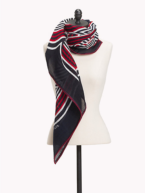 TOMMY HILFIGER Abstract Stripe Scarf - TOMMY NAVY MIX - TOMMY HILFIGER NEW IN - main image