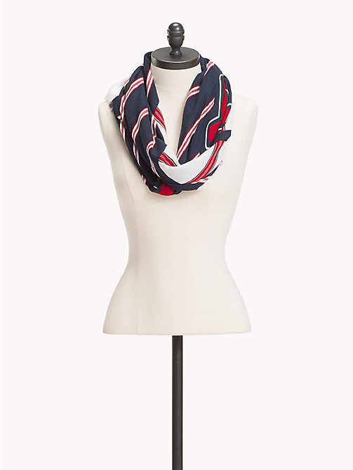 TOMMY HILFIGER Stripe Logo Square Scarf - BLUE MIX - TOMMY HILFIGER VACATION FOR HER - main image