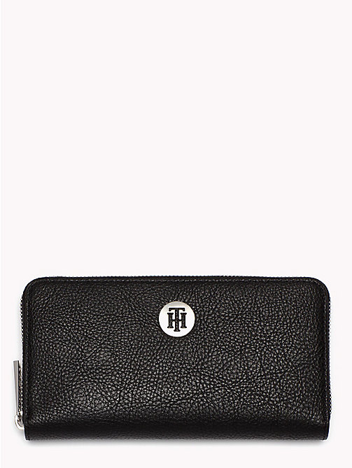 TOMMY HILFIGER Monogram Zip-Up Wallet - BLACK - TOMMY HILFIGER Accessories for the beach - main image
