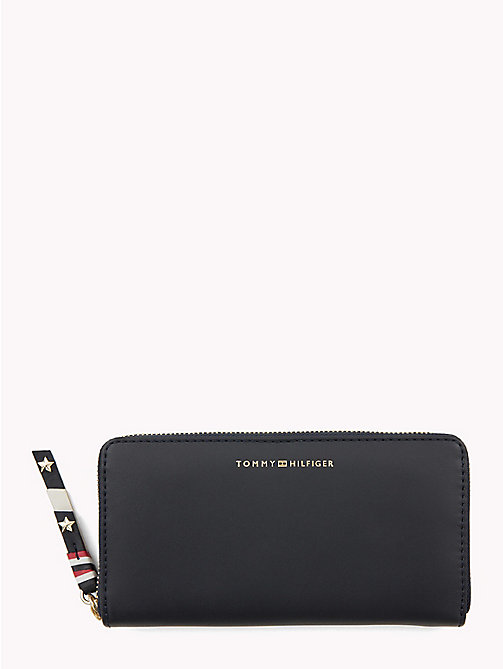 TOMMY HILFIGER Contrast Zip Leather Wallet - TOMMY NAVY - TOMMY HILFIGER VACATION FOR HER - main image