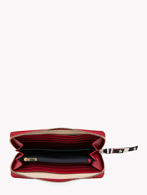 TOMMY HILFIGER Contrast Zip Leather Wallet - TOMMY RED - TOMMY HILFIGER Wallets - detail image 1