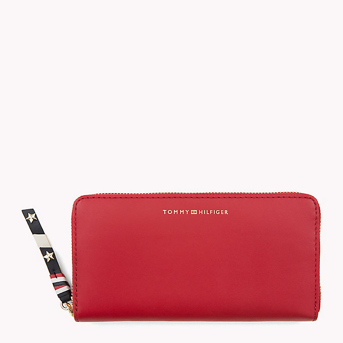 TOMMY HILFIGER Contrast Zip Leather Wallet - TOMMY NAVY - TOMMY HILFIGER Women - main image