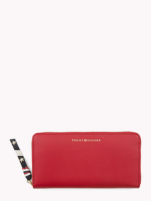 TOMMY HILFIGER Contrast Zip Leather Wallet - TOMMY RED - TOMMY HILFIGER VACATION FOR HER - main image