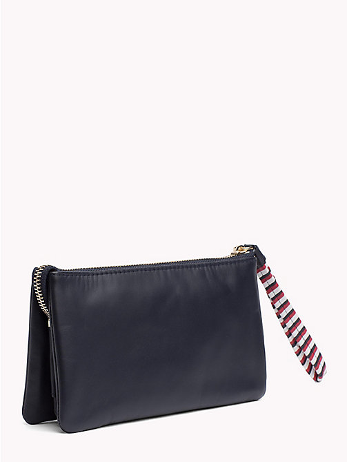 TOMMY HILFIGER Contrast Strap Leather Pouch - TOMMY NAVY - TOMMY HILFIGER VACATION FOR HER - detail image 1