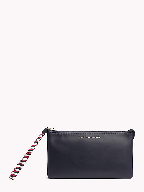 TOMMY HILFIGER Contrast Strap Leather Pouch - TOMMY NAVY - TOMMY HILFIGER VACATION FOR HER - main image