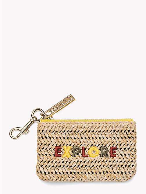 TOMMY HILFIGER Embroidered Raffia Coin Purse - RAFFIA - TOMMY HILFIGER Wallets & Keyrings - main image