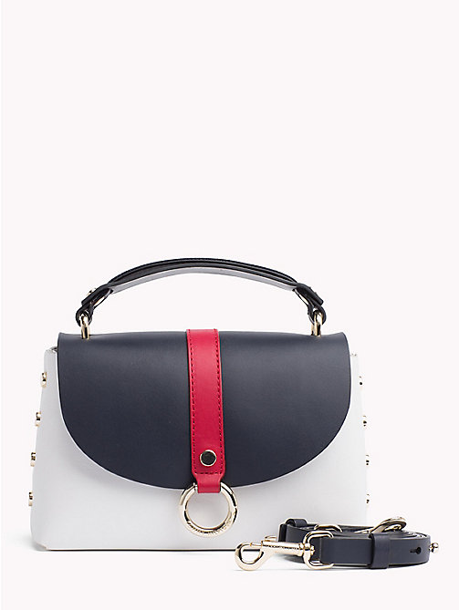 TOMMY HILFIGER Leren schoudertas met hardware en metalen studs - CORPORATE MIX - TOMMY HILFIGER Crossbodytassen - main image