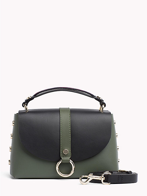 TOMMY HILFIGER Hardware Studded Leather Shoulder Bag - FOUR LEAF CLOVER/ BLACK - TOMMY HILFIGER Accessories for the beach - main image