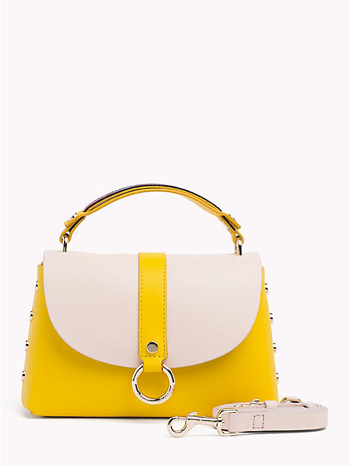 TOMMY HILFIGER Hardware Studded Leather Shoulder Bag - BUTTERCUP/ SILVER PEONY - TOMMY HILFIGER Colour-block collection - main image