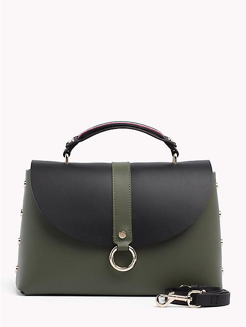 TOMMY HILFIGER Hardware Studded Leather Shoulder Bag - FOUR LEAF CLOVER/ BLACK - TOMMY HILFIGER Colour-block collection - main image