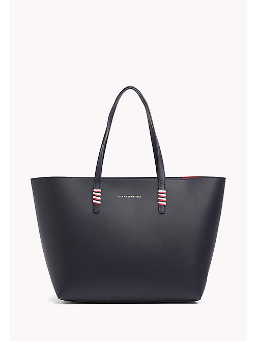 TOMMY HILFIGER Signature Stitch Leather Tote - TOMMY NAVY - TOMMY HILFIGER Tote Bags - main image