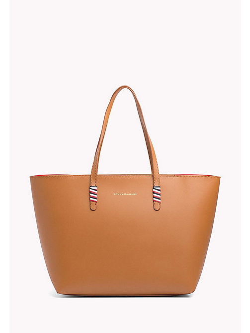 TOMMY HILFIGER Signature Stitch Leather Tote - COGNAC - TOMMY HILFIGER VACATION FOR HER - main image