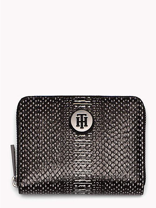 TOMMY HILFIGER Snake Effect Zip Purse - BLACK - TOMMY HILFIGER VACATION FOR HER - main image