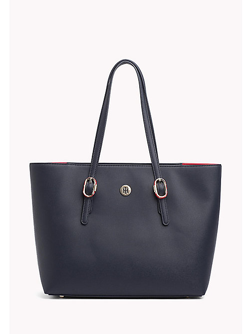 TOMMY HILFIGER Buckle Detail Tote Bag - TOMMY NAVY - TOMMY HILFIGER VACATION FOR HER - main image