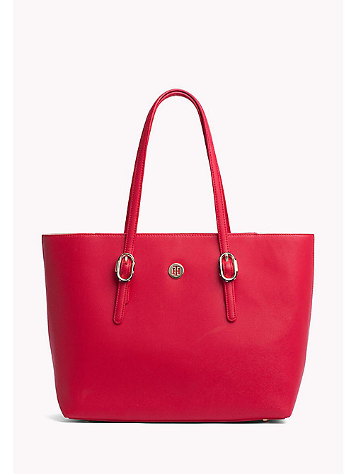 TOMMY HILFIGER Buckle Detail Tote Bag - TOMMY RED - TOMMY HILFIGER VACATION FOR HER - main image