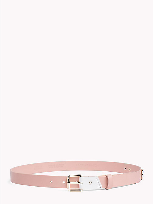 TOMMY JEANS Leather Patch Belt - ROSE CLOUD - TOMMY JEANS VACATION FOR HER - main image