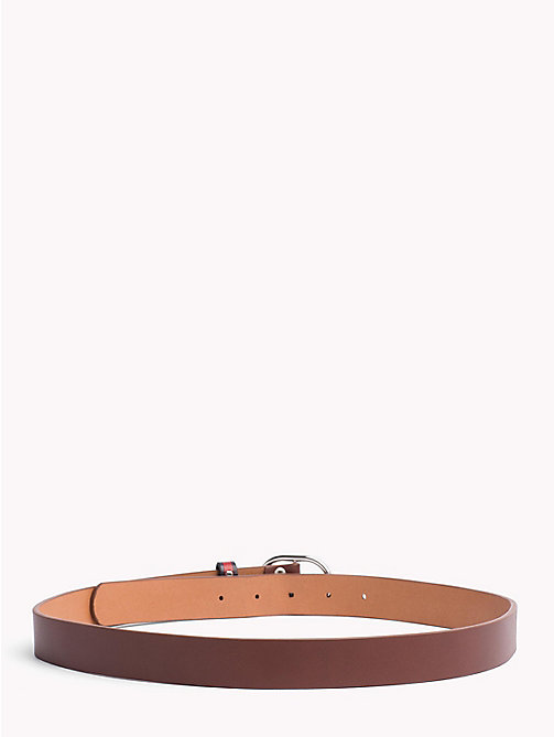 TOMMY JEANS Flag Print Leather Belt - DARK TAN - TOMMY JEANS Belts - detail image 1