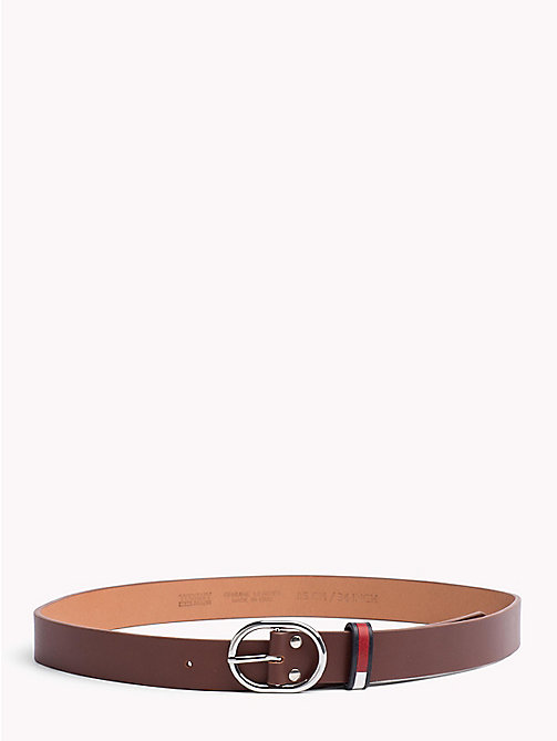 TOMMY JEANS Flag Print Leather Belt - DARK TAN - TOMMY JEANS Belts - main image