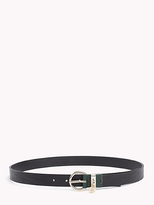 TOMMY HILFIGER Monogram Charm Leather Belt - BLACK -  Belts - main image