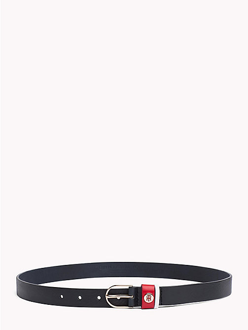 TOMMY HILFIGER Monogram Skinny Leather Belt - TOMMY NAVY - TOMMY HILFIGER Belts - main image