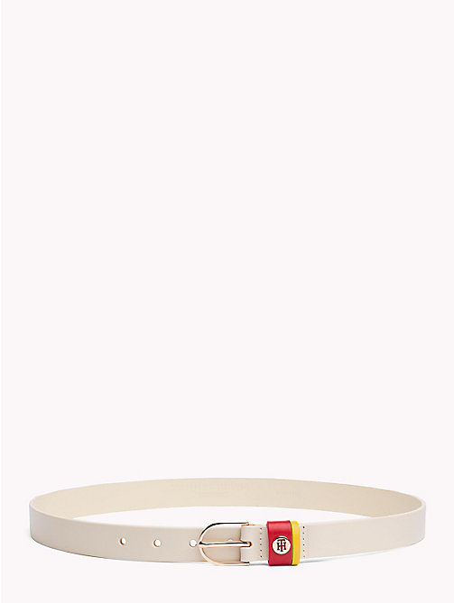 TOMMY HILFIGER Monogram Skinny Leather Belt - TAPIOCA - TOMMY HILFIGER VACATION FOR HER - main image