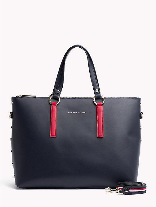 TOMMY HILFIGER Tote-Bag aus Leder mit Nieten - CORPORATE MIX - TOMMY HILFIGER Colorblock Collection - main image