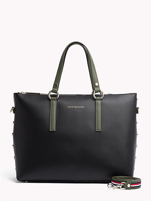 TOMMY HILFIGER Leren shopper met hardware en studs - FOUR LEAF CLOVER/ BLACK - TOMMY HILFIGER Colour-block collectie - main image
