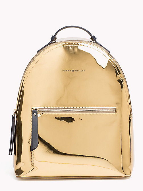 TOMMY HILFIGER Iconic Logo Strap Metallic Backpack - MIRROR METALLIC - TOMMY HILFIGER Backpacks - main image