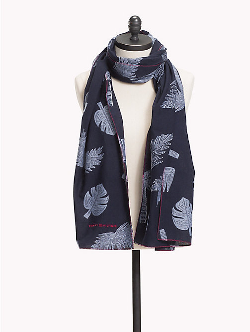 TOMMY HILFIGER Explorer Print Cotton Scarf - TOMMY NAVY MIX -  VACATION FOR HER - main image