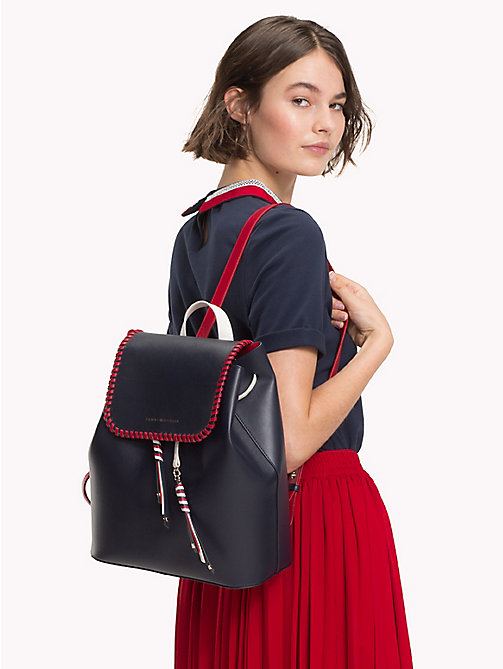 TOMMY HILFIGER Contrast Stitch Leather Backpack - TOMMY NAVY CB - TOMMY HILFIGER Backpacks - detail image 1
