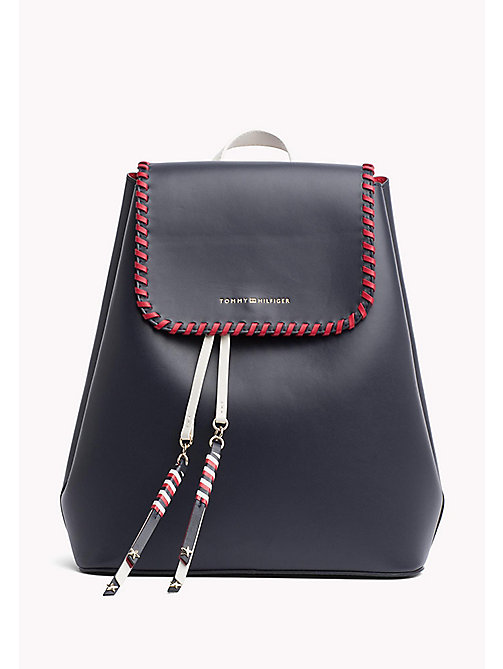 TOMMY HILFIGER Contrast Stitch Leather Backpack - TOMMY NAVY CB - TOMMY HILFIGER Accessories for the beach - main image
