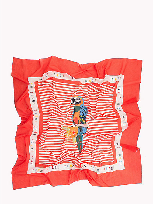 TOMMY JEANS Tropical Bird Stripe Scarf - POPPY RED - TOMMY JEANS Scarves - detail image 1