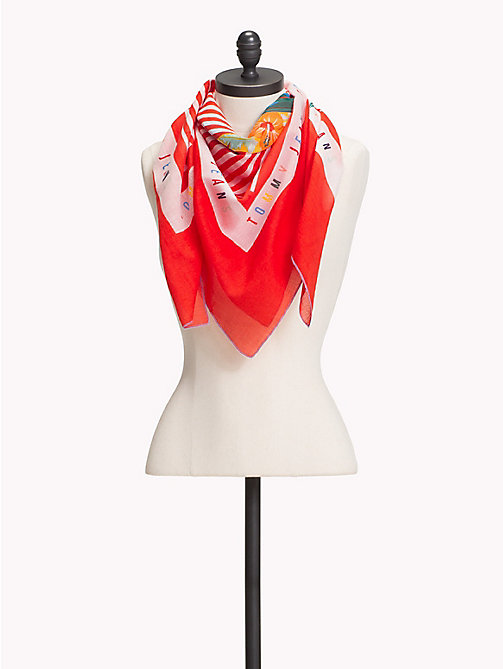 TOMMY JEANS Tropical Bird Stripe Scarf - POPPY RED - TOMMY JEANS Scarves - main image