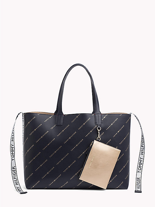TOMMY HILFIGER Iconic Tote with Pouch - TOMMY NAVY/ ALLOVER PRINT - TOMMY HILFIGER NEW IN - main image