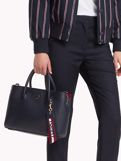 TOMMY HILFIGER Charm Work Bag - TOMMY NAVY/ CORP STRIPE - TOMMY HILFIGER Satchel Bags - detail image 1