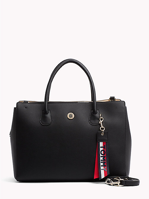 TOMMY HILFIGER Charming Work Bag with Laptop Sleeve - BLACK/GOLD - TOMMY HILFIGER Satchel Bags - main image