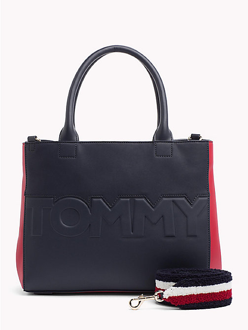 TOMMY HILFIGER Embossed Logo Satchel - CORPORATE MIX - TOMMY HILFIGER Satchel Bags - main image