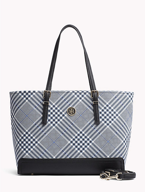 TOMMY HILFIGER HONEY MED TOTE PRINT - POW CHECK - TOMMY HILFIGER Сумки-Тоут - главное изображение