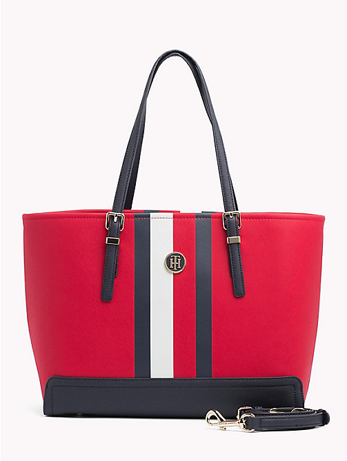 TOMMY HILFIGER HONEY MED TOTE PRINT - TOMMY RED/ CORP STRIPE - TOMMY HILFIGER Tote Bags - main image