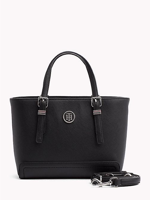 TOMMY HILFIGER Faux Saffiano Tote - BLACK - TOMMY HILFIGER Tote Bags - main image