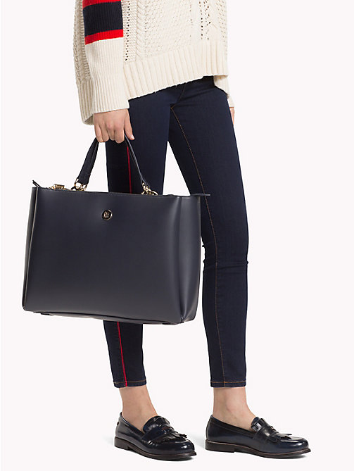 TOMMY HILFIGER Monogram Plaque Satchel - TOMMY NAVY - TOMMY HILFIGER Bags & Accessories - detail image 1